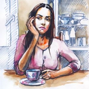 Young girl is bored alone in her kitchen. author pencil drawing