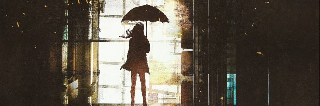 abstract illustration of the silhouette of a woman holding an umbrella and looking out a bright window