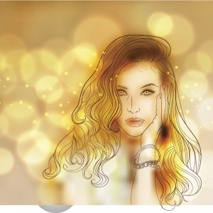 drawing of woman in gold tones