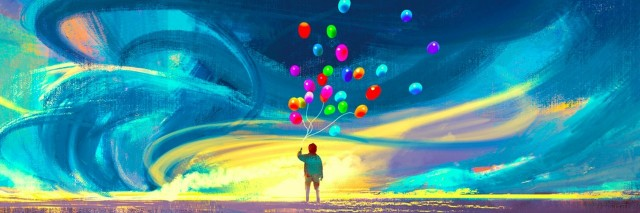 Illustration of person holding balloons, standing in front of storm in various colors