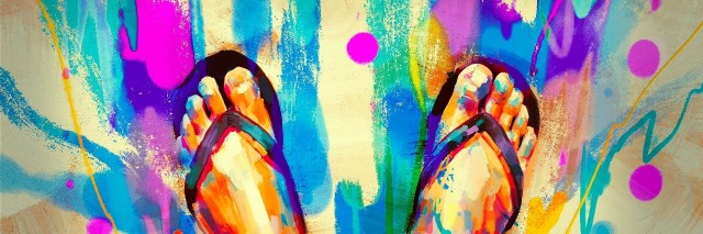 painting of colorful feet with flip-flops on sandy beach
