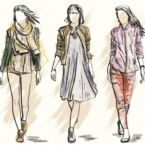 sketch of three women walking wearing different outfits