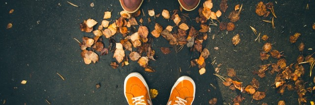 close-up of two people's shoes as they stand in front of one another, with fall leaves at their feet