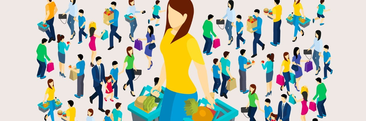Shopping concept with men and women holding bags