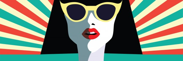 Beautiful young woman with sunglasses and hat, retro style. Pop art. Summer holiday. concept