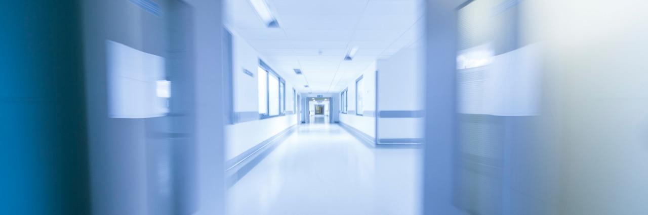 blurred hallway of a hospital
