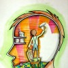 Illustration of a boy coloring walls in white inside humans head.