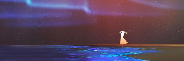 woman standing on beach glows with Northern lights Aurora borealis above,illustration painting