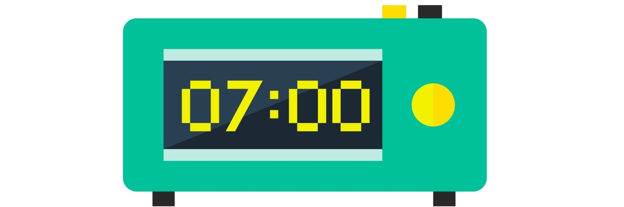 Electronic Alarm Clock that reads 7:00