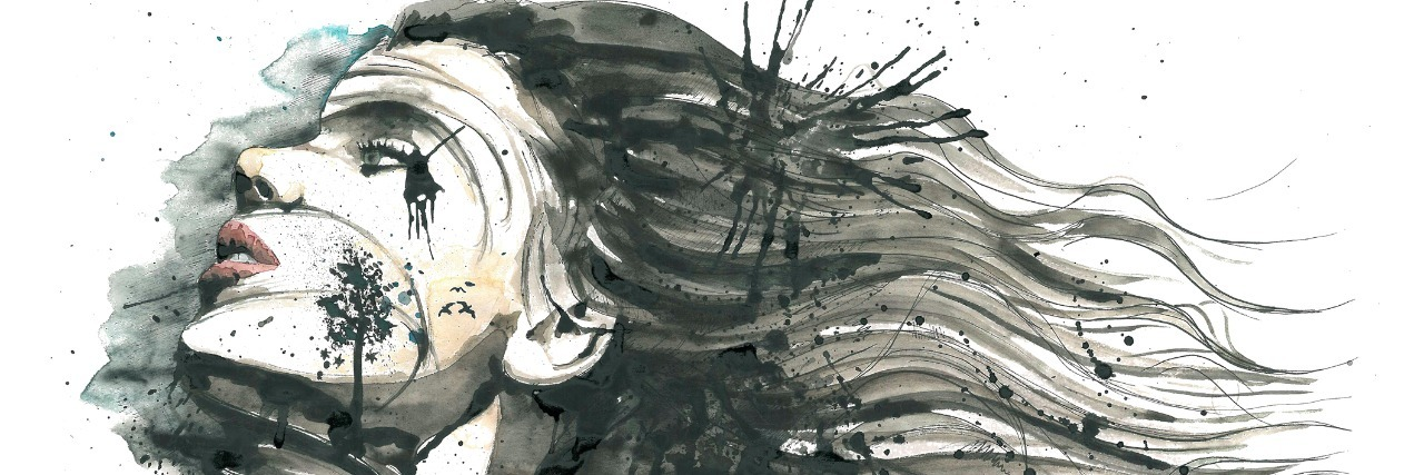 watercolor of woman with hair blowing back