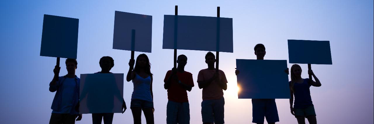 Protesting.