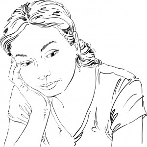 Illustration of woman with cheek resting on hand, looking down