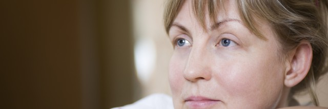 Pensive Middle Aged Woman