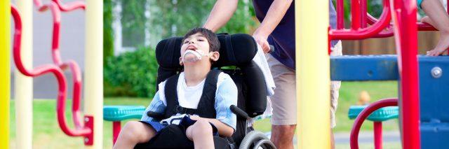 Boy in wheelchair at the playground.