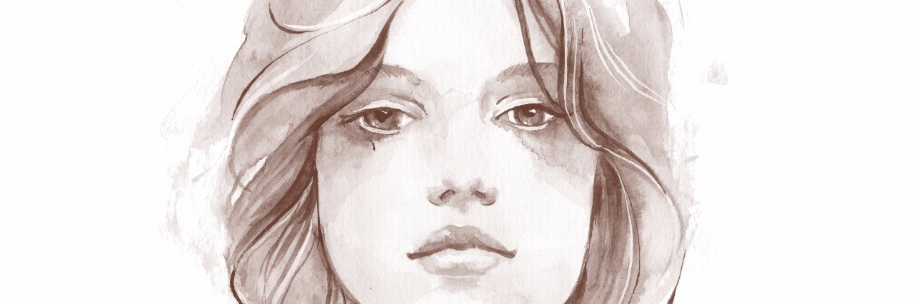 Portrait of a young girl. Watercolor illustration 1