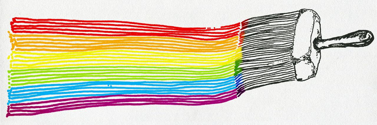 LGBT flag painted.