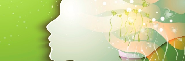 silhouette of young woman with flowers on green background