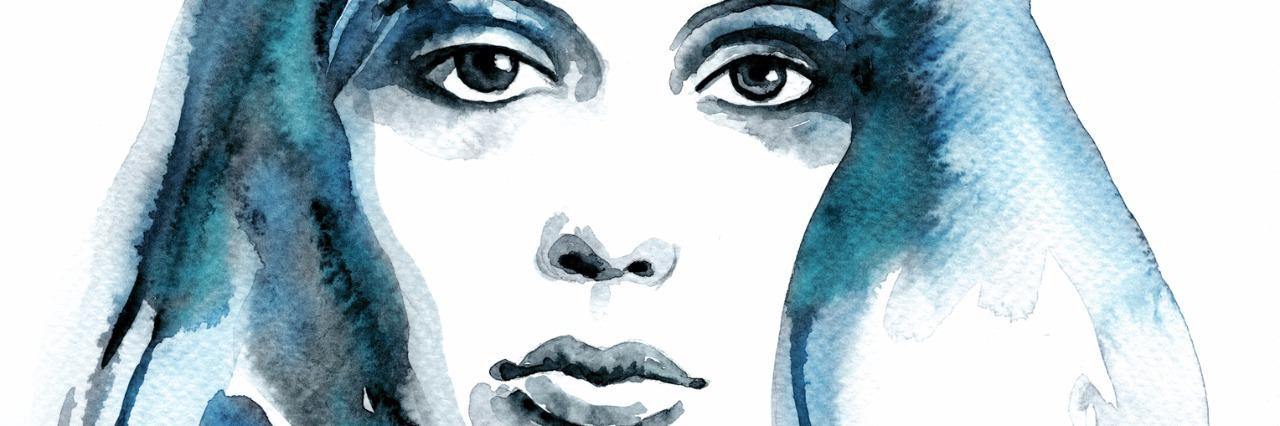 Watercolor woman blue