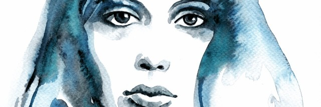 Watercolor woman blue