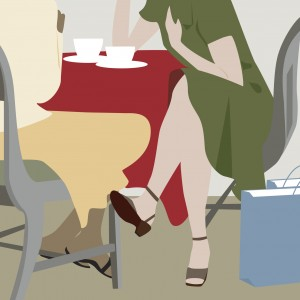 Illustration of two women sitting at a table having coffee after shopping