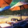 colorful painting of sun umbrellas and loungers on beach