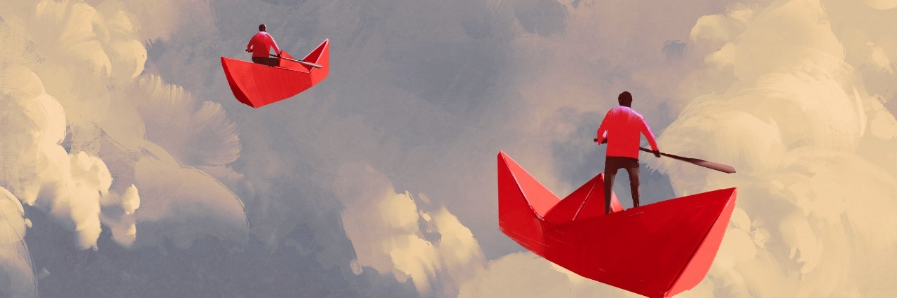 men on red paper boats floating in the cloudy sky