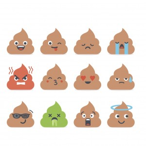 Set of vector poop emoticons