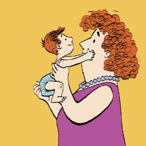 mother holding son with red hair