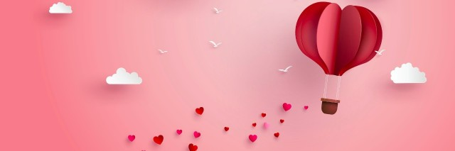 pink hot air balloon and hearts trailing behind, made out of paper