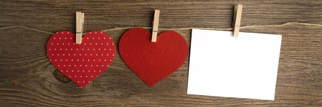 cards on the wooden background, A Valentine's Day card decorated with hearts. Love.
