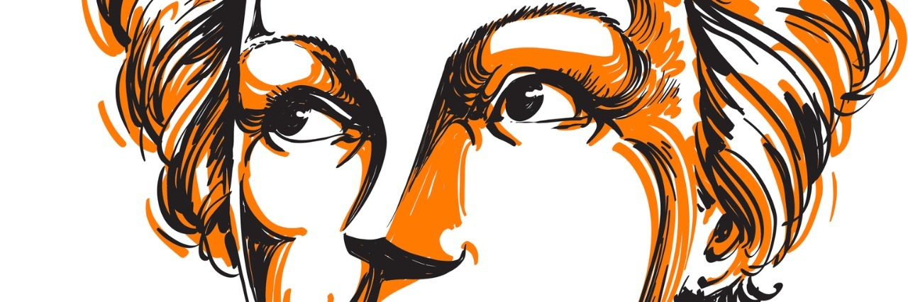 Graphic vector hand-drawn illustration of woman