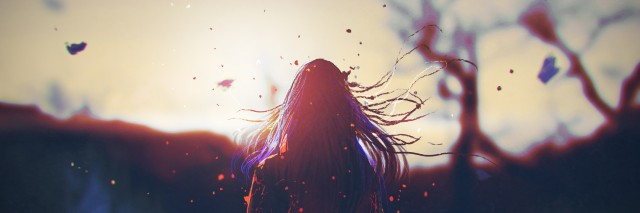 rear view of woman with cracked effect on her body looking the sunrise,illustration painting