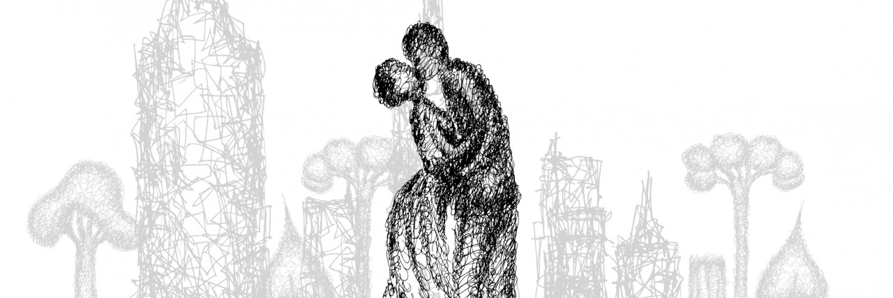 Abstract illustration of kissing and hugging couple.