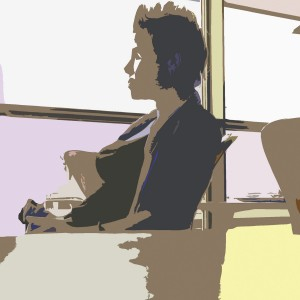 illustration of woman sitting in a chair and looking out a window