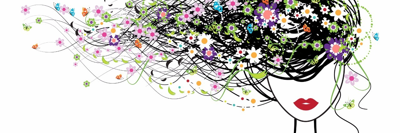drawing of woman with long hair with flowers flowing to the left