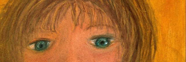 Pastel illustration of a woman looking... concerned.