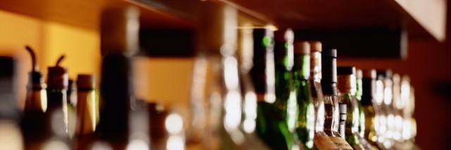 Shelf of liquor bottles