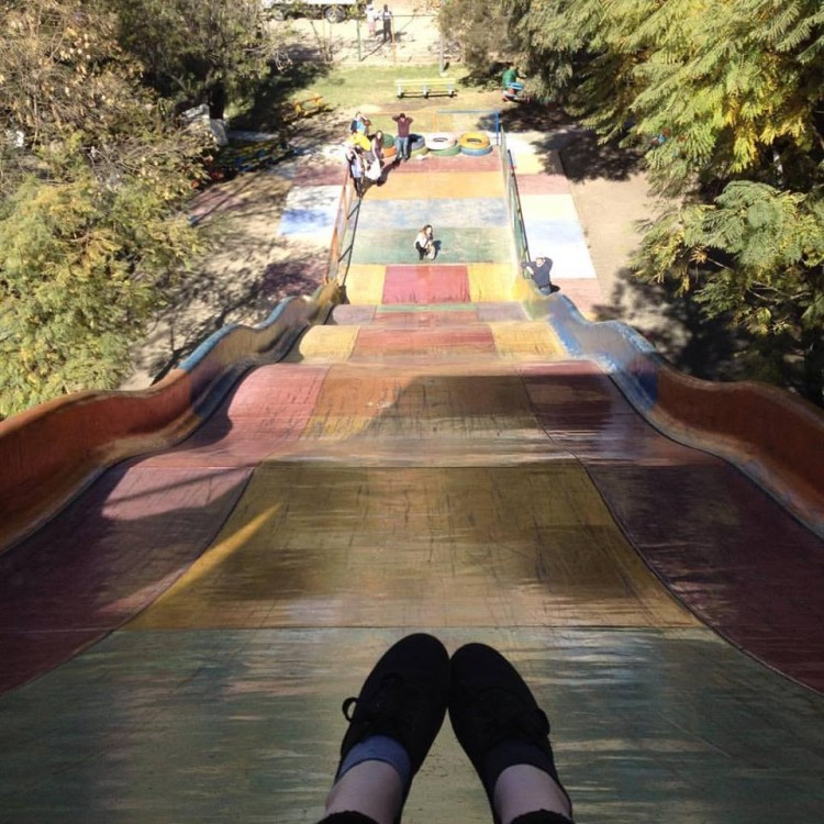 This is me, peering down from a giant slide in Cochabamba, Bolivia.