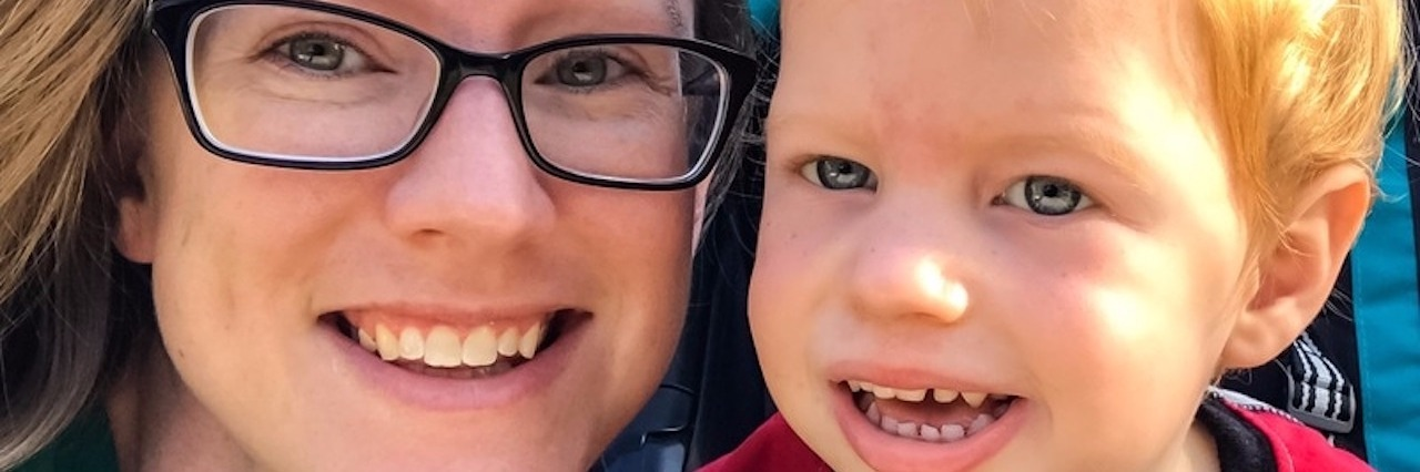 mom and son smiling