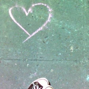 chalk heart on the street