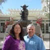 Contributor and husband in front of yoda statue