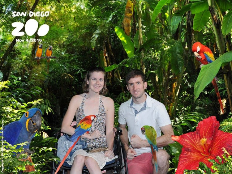 man and woman holding parrots and surrounded by palm trees