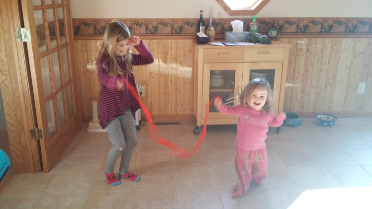 Willow dancing with her sister.