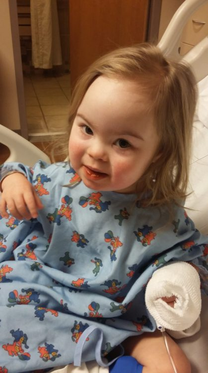 Willow in the hospital but looking cheerful.