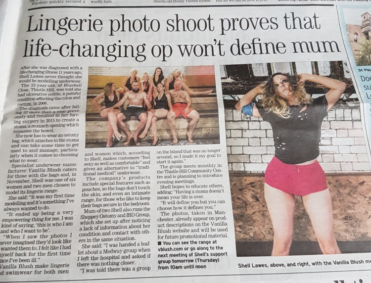 newspaper article about the author doing a lingerie photo shoot