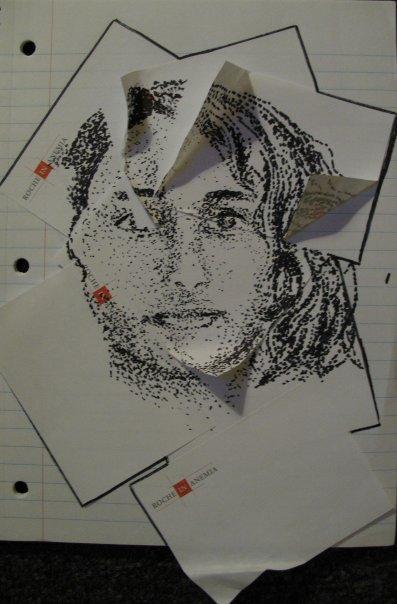 dot drawing of woman
