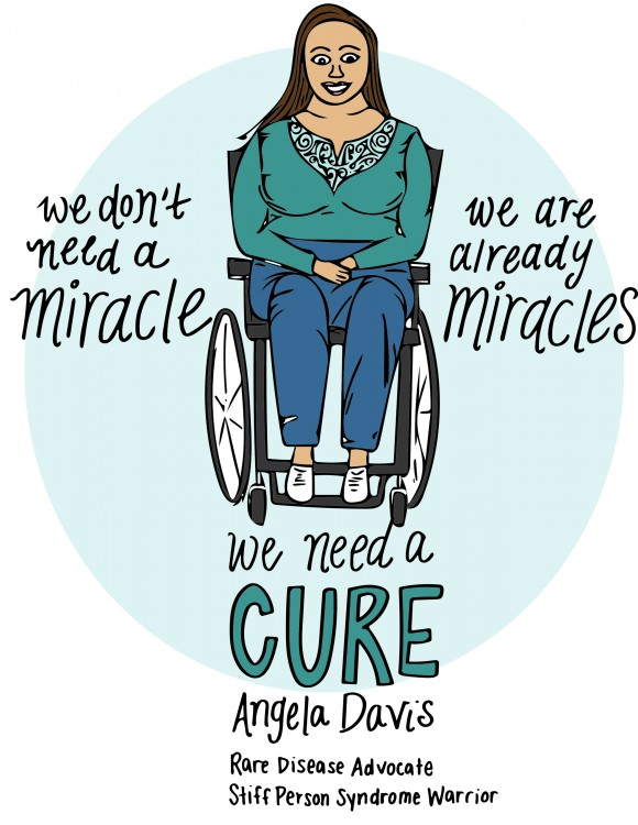 drawing of woman in wheelchair with quote we dont need a miracle we are already miracles, we need a cure