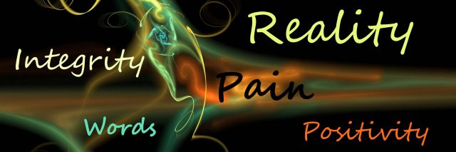 abstract background with the words: reality, transparency, pain, positivity, words, integrity