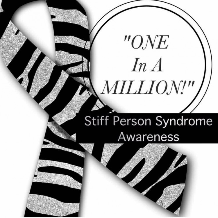 zebra print ribbon with text one in a million, stiff person syndrome awareness
