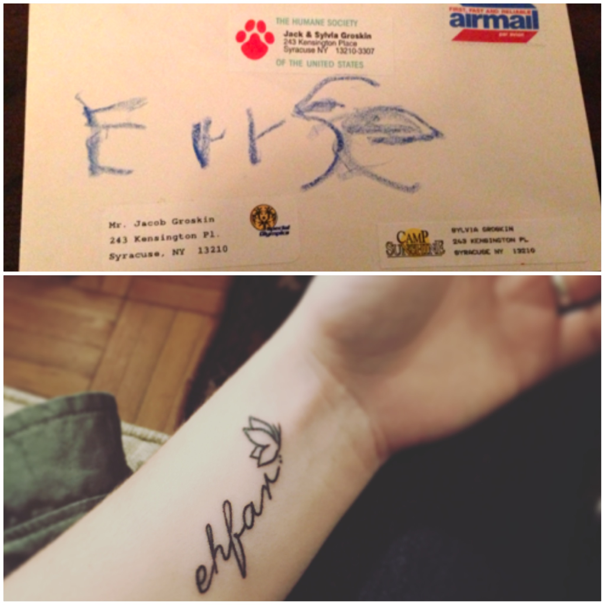 envelope with sister's name on it and picture of woman's tattoo